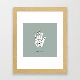 Good luck fortune teller hand hamsa magic universe green Framed Art Print