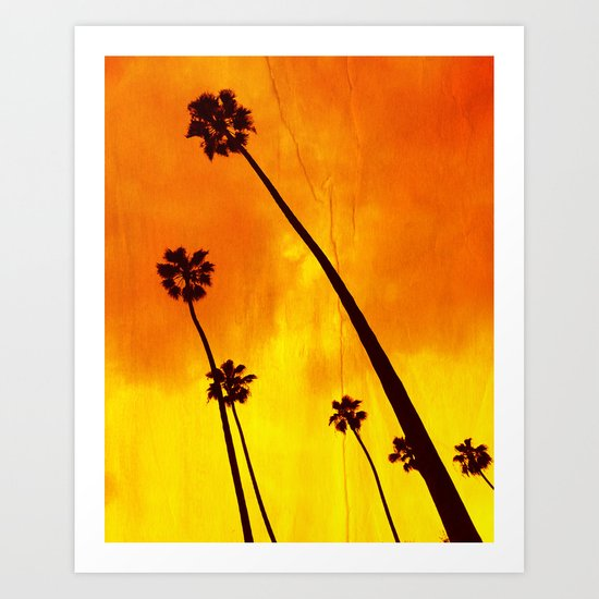 Orange Palm Trees Art Print