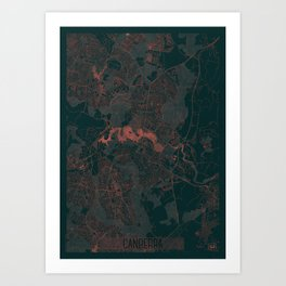 Canberra Map Red Art Print