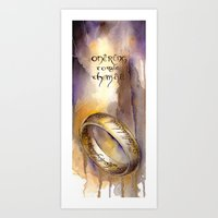lord of the ring Art Prints featuring One Ring by Kinko-White
