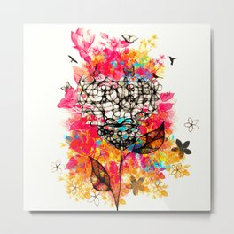 Abstract flower's face, colors Metal Print