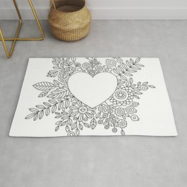 Flourishing Heart Adult Coloring Illustration, Heart and Flowers Wreath Rug