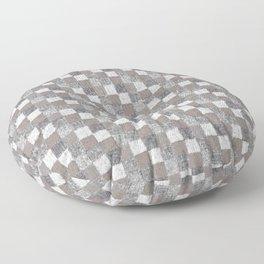 Rustic Charcoal Beige and Cream Patchwork Floor Pillow