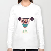 muscle Long Sleeve T-shirts featuring Monsieur Muscle  by Geekygirl