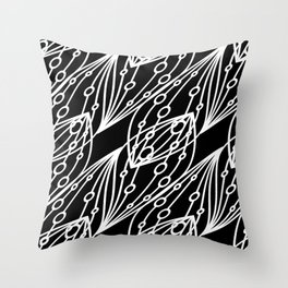 White molecular helix with diagonal circles on a black background. Throw Pillow