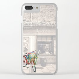 Red Bicycle in front of a Kennedys Bar Ireland Clear iPhone Case