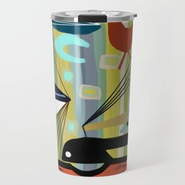 Mid Century Modern Fish Art Travel Mug