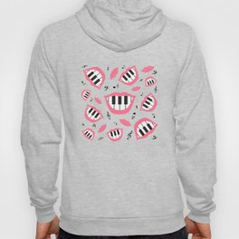 Piano smile pattern in grey&pink Hoody