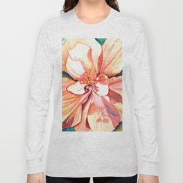 Double Peach Tropical Hibiscus Long Sleeve T-shirt