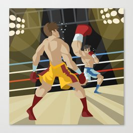 boxer performing an uppercut punch on opponent Canvas Print