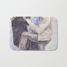 Team Free Will: Misha Collins; Jared Padalecki and Jensen Ackles, watercolor painting Bath Mat