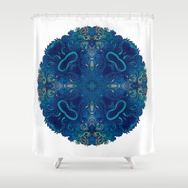 Blue Cobalt Indian Mandala Shower Curtain