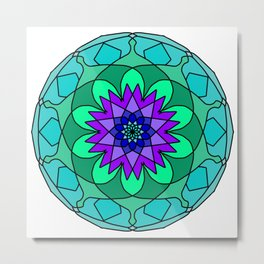 colored round mandala spectrum colors Metal Print