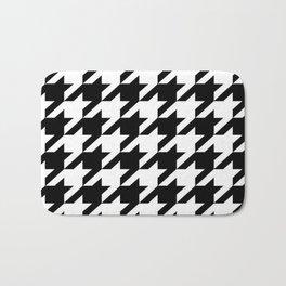 retro fashion classic modern pattern black and white houndstooth Bath Mat