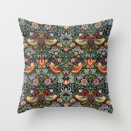Strawberry Thief by William Morris 1883, Weave Cotton, Vintage Pattern CC0 Spring Summer Throw Pillow