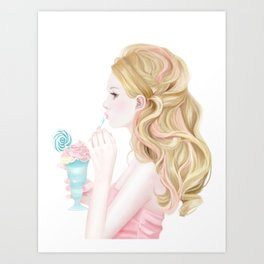 A blonde sweet lady Art Print