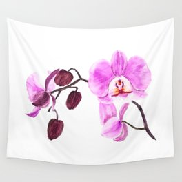 pink orchid flower watercolor painting Wall Tapestry