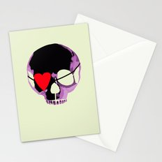 Pink skull with heart eyepatch Stationery Cards
