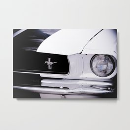 Black and White Mustang Metal Print