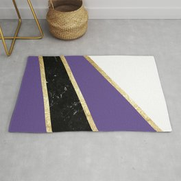 Ultra Violet, White, Black Marble and Gold Stripes Glam #1 #minimal #decor #art #society6 Rug