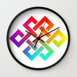 Eternity knot in rainbow colors Wall Clock