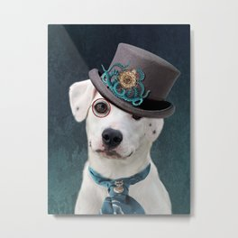 White Steampunk Dog Metal Print