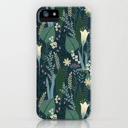 Wonderful Mid-Century Style Evening Lily And Wildflower Pattern iPhone Case
