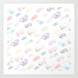 pattern with isometric icons of special equipment and machines Art Print
