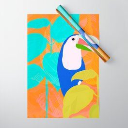 tropical toucan, orange Wrapping Paper