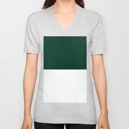 White and Deep Green Horizontal Halves Unisex V-Neck