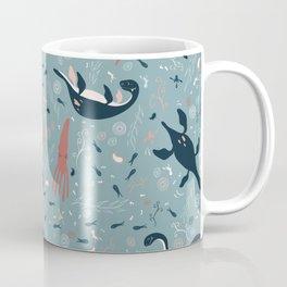 Prehistoric Seas: Playful Plesiosaur in Blue Coffee Mug