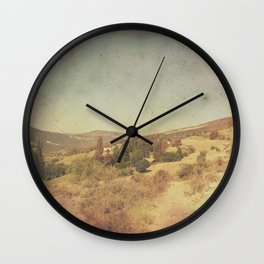 Vintage dry desert landscape Wall Clock
