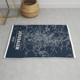 Jerusalem Blue Dark Color City Map Rug