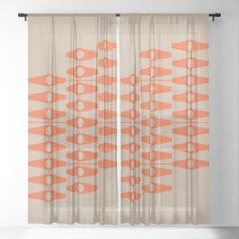 abstract eyes pattern orange tan Sheer Curtain