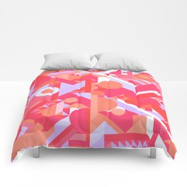 GEOMETRY SHAPES PATTERN PRINT (WARM RED LAVENDER COLOR SCHEME) Comforters