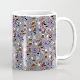 Small Print Dog Weim Nation Grey Ghost Weimaraner Hand-painted Pet Pattern on Blue Coffee Mug