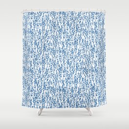 Petite Double Pussywillow Pattern — Blue Shower Curtain