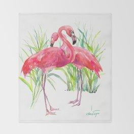 Flamingos, two flamingo birds, pink green art Throw Blanket