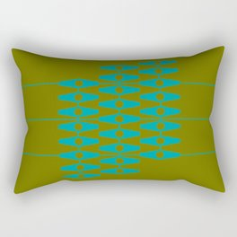 abstract eyes pattern aqua olive Rectangular Pillow