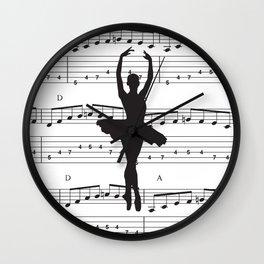 ballerina art, music Notes , girls nursery art, ballerina décor , girls nursery art , Wall Clock