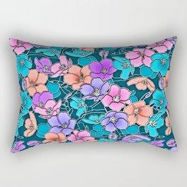 Modern abstract teal coral pink navy blue floral Rectangular Pillow