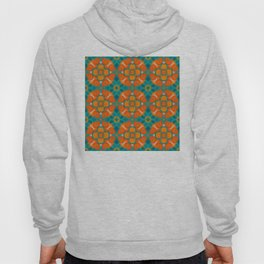 Simple pixel round palette in traditional Moroccan colors: Aqua, terracotta, orange, blue Hoody
