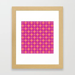 Mid Century Modern Star Pattern 143 Magenta and Orange Framed Art Print