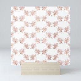 Modern elegant botanical rose gold pine tree leaves Mini Art Print
