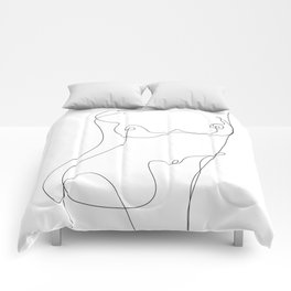 Minimal Line Art One Line Female Figure I Comforters