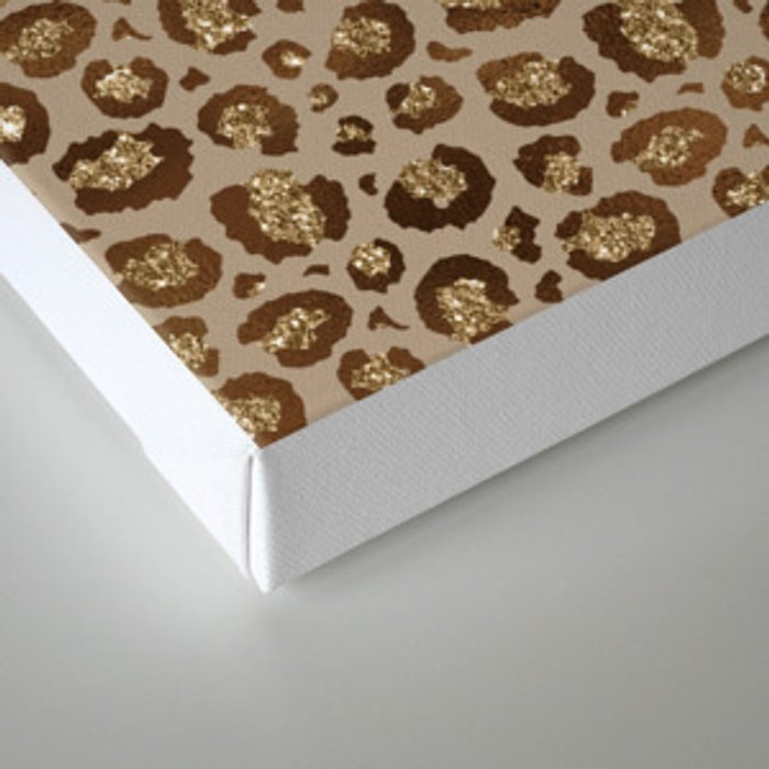 Brown Glitter Leopard Print Pattern Canvas Print