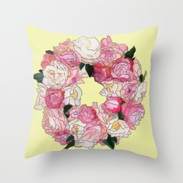 Peony Floral Wreath Painting (yellow) Throw Pillow