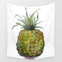 craftberrybush Wall Tapestries featuring Pineapple -watercolor  by craftberrybush
