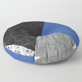 Black and White Marbles and Pantone Lapis Blue Color Floor Pillow
