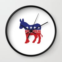 north carolina Wall Clocks featuring North Carolina Democrat Donkey by Democrat